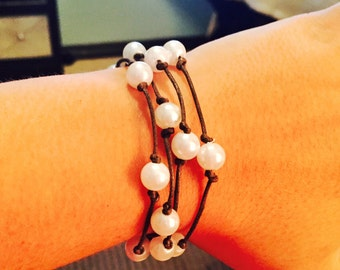 Pearl Leather Wrap Bracelet and/or Choker
