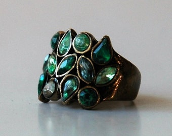 Shades of green ladies cocktail ring