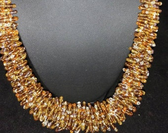 Twisty Sis Gold Seed Bead Necklace