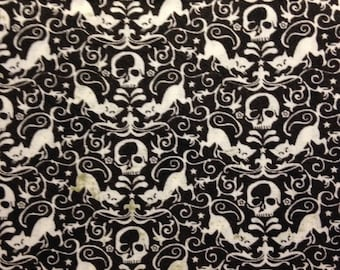 White Cats and Skulls on Black Background, Eerie, Toil Trouble for Moda Fabrics, 100% Cotton