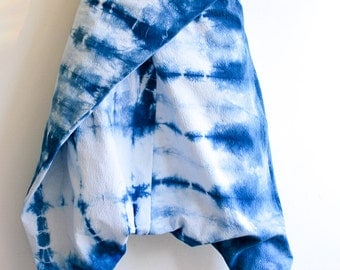 Indigo Shibori Cotton Harem Pants, Sarouel, Baggy Drop Crotch Pants, One size fits most pants