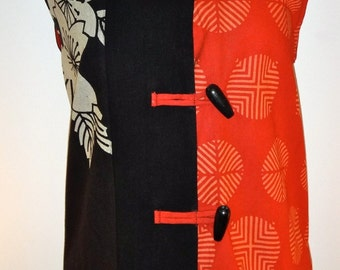 Zephyr Vest - Black/Red Sleeveless High-Collar Vest with Asian Style Print - SP13-5036