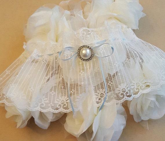 Plus Size Wedding Garters: Plus Size Blue Wedding GarterPlus Size GarterBlue And White