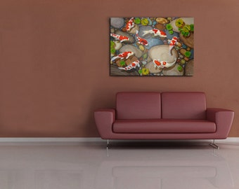 "Acrylic Painting on Canvas, Feng Shui, koi, symbolism, interior, ""Untitled, but fortunately"""