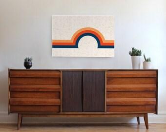 LARGE wall art, mid century modern print, geometric art, geometric print, minimal print, canvas print, retro art, rainbow art, 70s, vintage