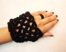 Crochet Fishnet Fingerless Gloves Pair | Alternative, Punk, Goth, Gothic, Rave, Sexy, BDSM