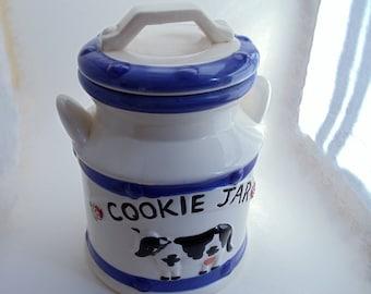 Vintage Milk Can Cookie Jar, Unique & Rare Large Ceramic Milk Jug Black and White Cow Cookie Jar, White w/Blue Farm House Cookie Jar, 1960s'