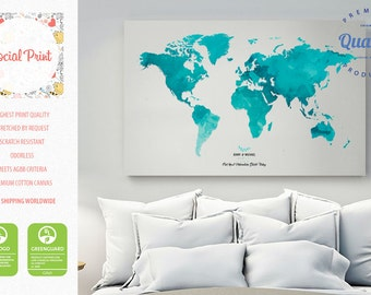 World map canvas etsy personal world map canvas print free shipping wedding map personal world map sciox Gallery