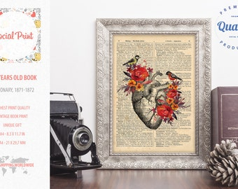 Heart Flowers Vintage Anatomy FREE SHIPPING 145 years old Antique book page, dictionary print, encyclopedia print, antique book page print