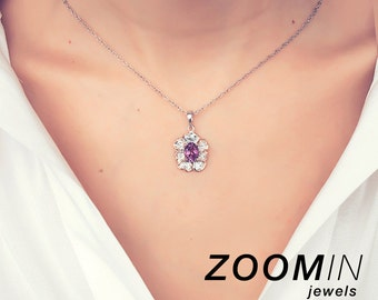 Amethyst Flower Pendant Necklace, Silver Floral Necklace, Floral Jewelry, Bohemian Jewelry, Purple Jewelry, Anniversary Gift, Gift for Her