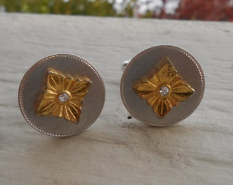 Vintage Gold&Silver Rhinestone Cufflinks 1970s. Gift For Dad, Brother, Husband.