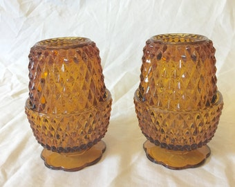 Indiana Glass Amber Glass Diamond Point Fairy Light, Amber Candle Holder