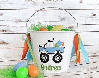 Boys Personalized Easter Bucket - Easter Pail - toddler basket - Monster Truck Bucket - Boys Easter Basket - truck bucket - basket for boys