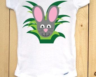Bunny Onesie/ Rabbit Onesie/ Bunny Bodysuit/ Rabbit Bodysuit/ Gray Bunny in Grass/ Gray Rabbit/ Easter Bunny/ Easter Bodysuit/ Easter Onesie