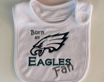 Philadelphia Eagles Baby Bib; Eagles Fan Terry Cloth Baby Bib; Embroidered Philadelphia Eagles Baby Bib