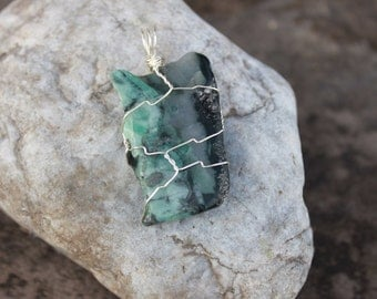 Emerald Wire Wrapped Pendant