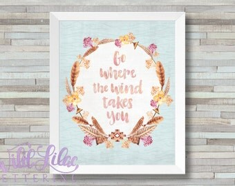 Go Where The Wind Takes You - DIGITAL PRINT - Blue Green Fuschia Neutral Feather Watercolor