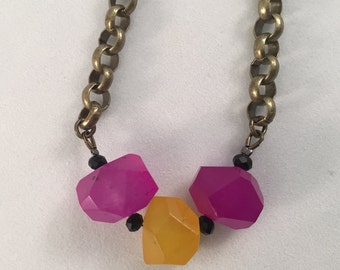 Magenta and Yellow Necklace