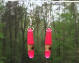 Pink Resin Earrings - Wood and Silver Wire Wrapped Resin Earrings