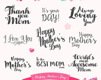 Happy Mother's Day Typography Digital Vector Clip art / Mothers Day Clipart Design Illustration / Quote, Wording, Wishes, Card, Thank you