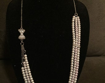 CLEARANCE 40% OFF: Multi-Strand Asymmetrical Pink and Cream Pearl 30 inch Necklace with Rhinestone embelishments