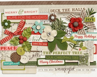 December Joys : Holly & Ivy - Christmas Digital Elements - Scrapbooking Pack - Perfect for the Holidays!