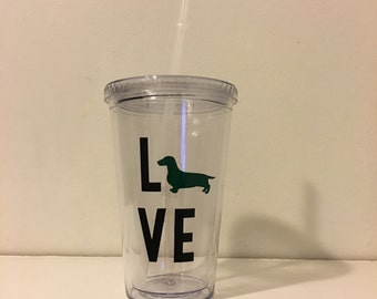 Dachshund LOVE Tumbler - Doxie Silhouette Gift- BPA Free Tumbler with Straw