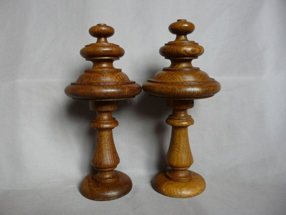 French Antique Architectural Pair Of Wood Curtain Rod Finials