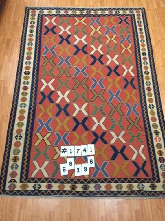 "6'8"" x 9'6"" Turkish Kilim Oriental Rug - Hand Made - 100% Wool - Two Sided"