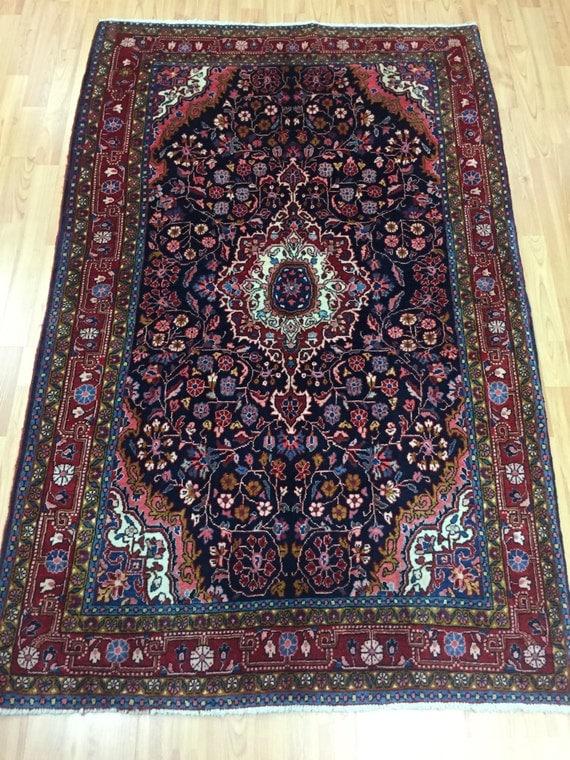 "3'7"" x 5'8"" Persian Kashan Oriental Rug - 1950s - Hand Made - 100% Wool"