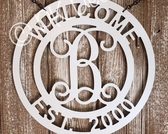 "Labor Day Sale -  Welcome Monogram Door Decor 24"" Metal Personalized w/ Initial & Established Date"