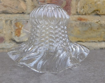 French Vintage Fluted Clear Glass Lampshade