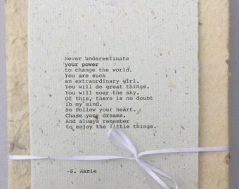 Graduation gift for daughter, niece, friend, for young woman, Inspirational, motivational poem Extraordinary Girl. Poem for daughter.