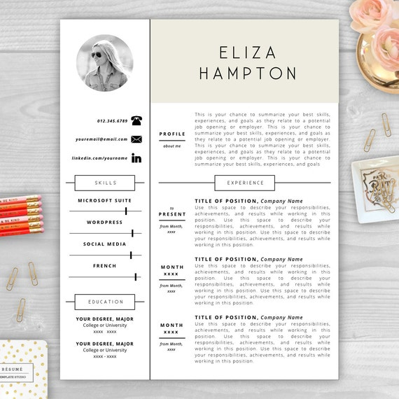 with Photo   CV Template   Resume Template Word   Resume Design   Free ...