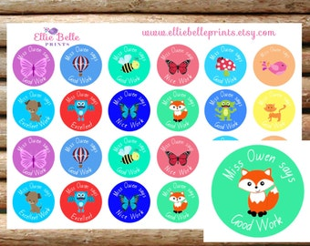 48 Personalised Teacher Reward Stickers ( NSW Foundation Font)