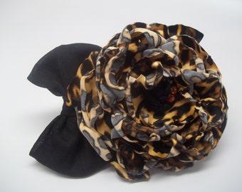 Cheetah~ women's cheetah print fabric flower pin/ women's lapel pin/ flower pin/ cheetah flower pin