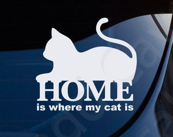 Home Is Where My Cat Is Decal Car Window Laptop