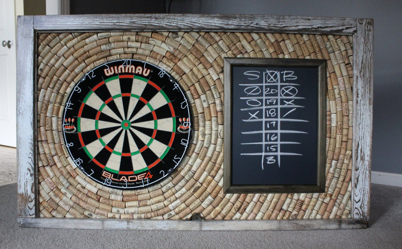 natural wine cork dartboard backer and scoreboard game room