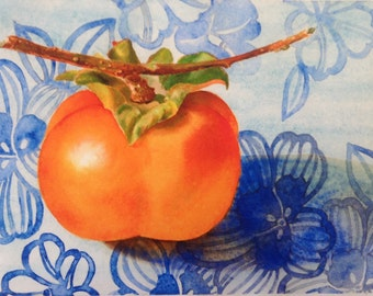 Persimmon Watercolor, Archival Print, Persimmon Still Life, Fruit Watercolor, Fruit Painting, Japanese Still Life