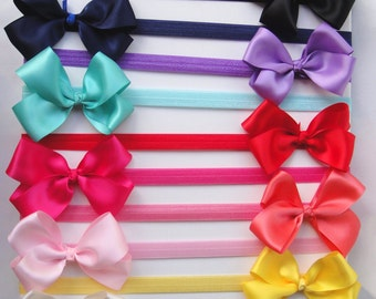 Hair bow Baby Headband, Candy Colors Headband, with Satin bow, Girls Hair Accessory, CANDY