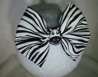 Zebra Hair Bow - Small
