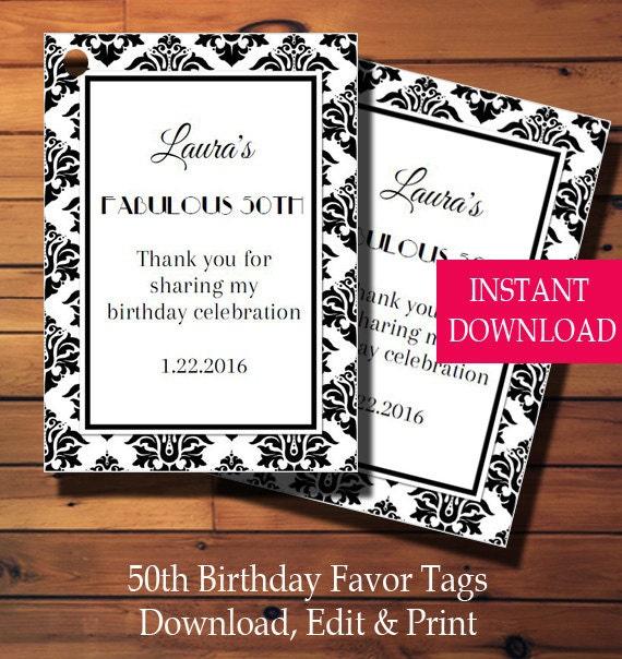 50th Birthday Favor Tags-Birthday Gift Tags-Birthday Tags
