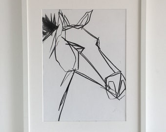 Original abstract drawing of horses head 1