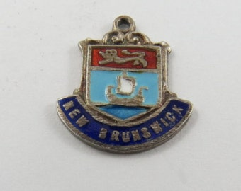 Enameled Ship with New Brunswick Silver Charm of Pendant.