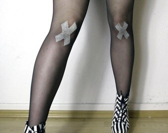 Made to Order: Glitter XX Tights // pastell goth grunge stockings cross