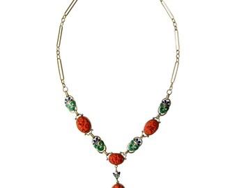 Vintage Carved Coral & Enamel Floral Art Deco 14K Gold Statement Y Necklace