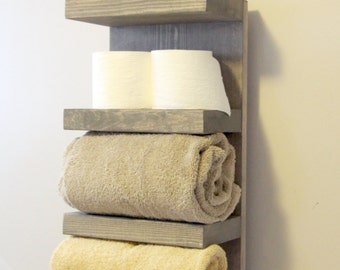 Everyday Towel Rack, Bathroom Towel Rack, 4 Tier Bath Storage, Everyday Towel Rack, Floating Shelf, Hotel Style, Rustic bathroom towel rack