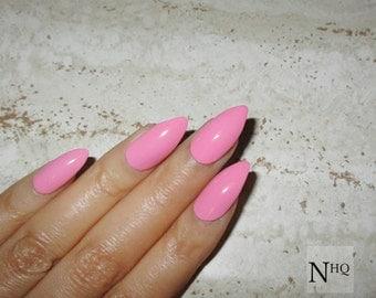 Pink Stiletto Nails | Fake Nails | Press on Nails | Glossy / Matte Pointy Nails