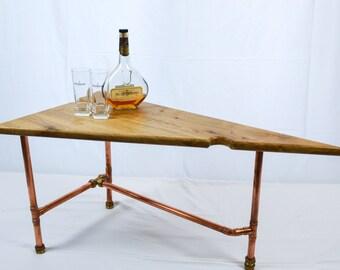 White Oak Wood Coffee Table Copper Legs