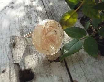 Elva Handmade Epoxy Resin Women & Men Multi-Size Adjustable Ring with a Real Flower Inside, White Cornflower,Perfect gift for a Friend